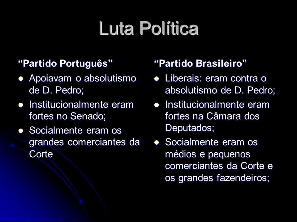 Luta Política Partido Português Apoiavam o absolutismo de D. Pedro; Apoiavam o absolutismo de D. Pedro; Institucionalmente eram fortes no Senado; Inst