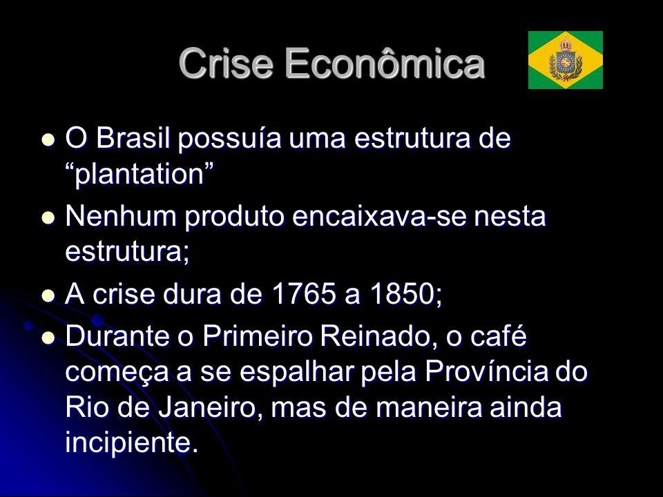 Crise Econômica O Brasil possuía uma estrutura de plantation O Brasil possuía uma estrutura de plantation Nenhum produto encaixava-se nesta estrutura;
