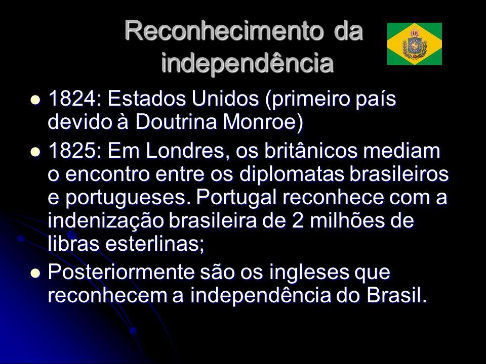 Reconhecimento da independência 1824: Estados Unidos (primeiro país devido à Doutrina Monroe) 1824: Estados Unidos (primeiro país devido à Doutrina Mo