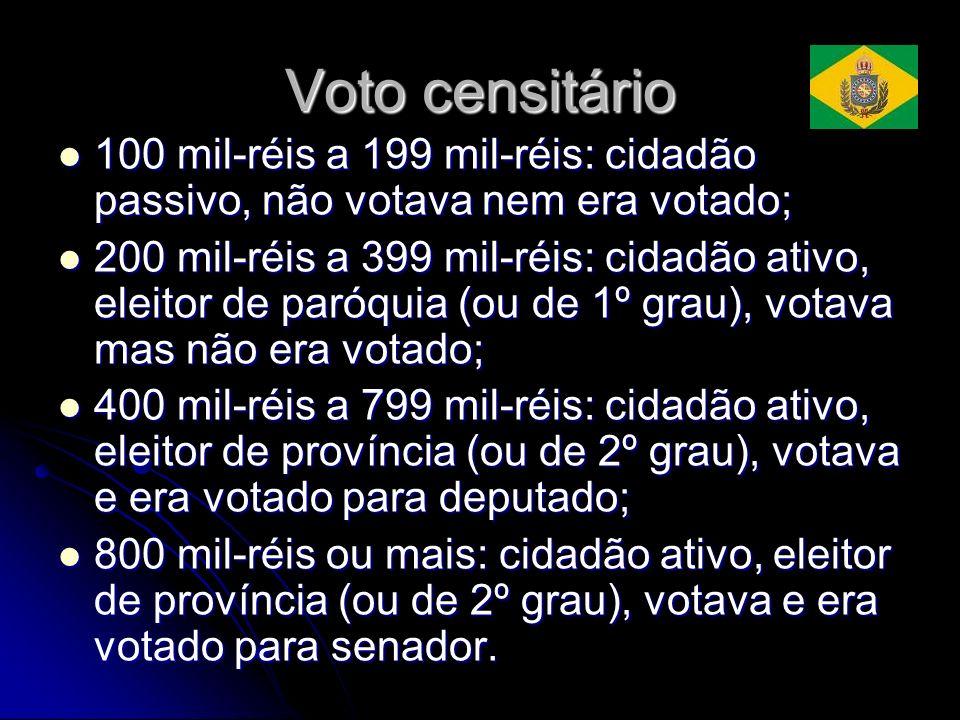 Voto censitário 100 mil-réis a 199 mil-réis: cidadão passivo, não votava nem era votado; 100 mil-réis a 199 mil-réis: cidadão passivo, não votava nem