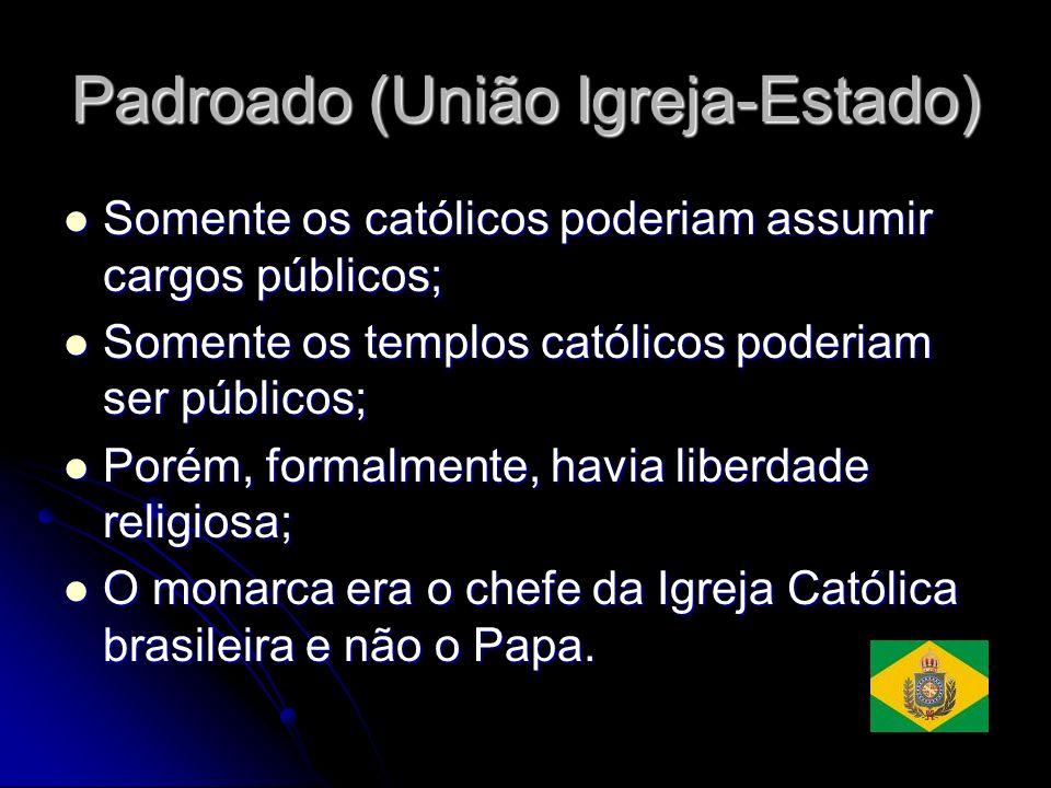 Padroado (União Igreja-Estado) Somente os católicos poderiam assumir cargos públicos; Somente os católicos poderiam assumir cargos públicos; Somente o