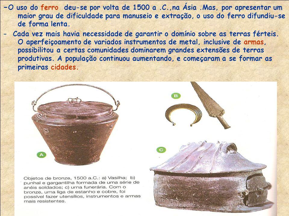 - O primeiro metal a ser utilizado foi o cobre, devido à sua maleabilidade.