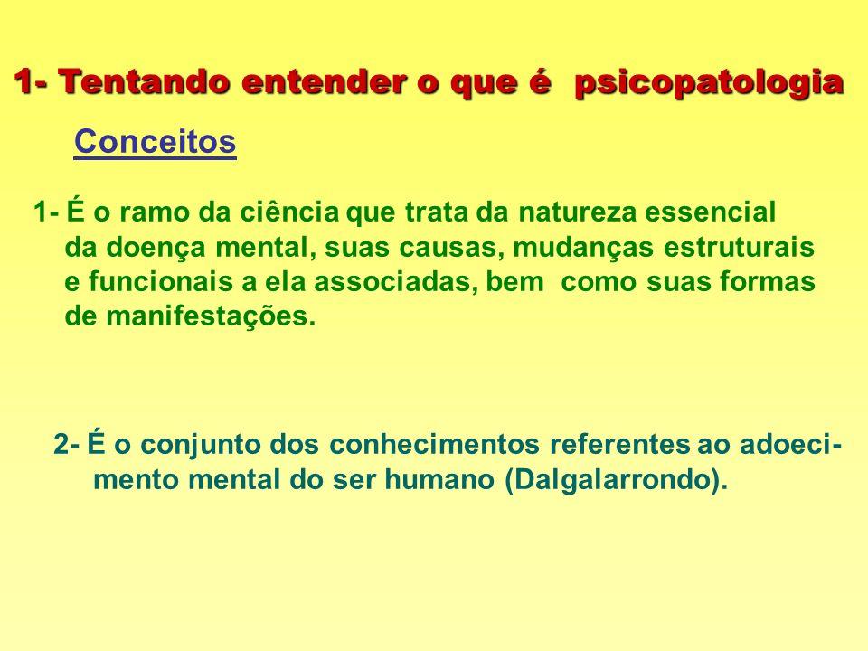 1- Tentando entender o que é psicopatologia Conceitos 1- É o ramo da ciência que trata da natureza essencial da doença mental, suas causas, mudanças e