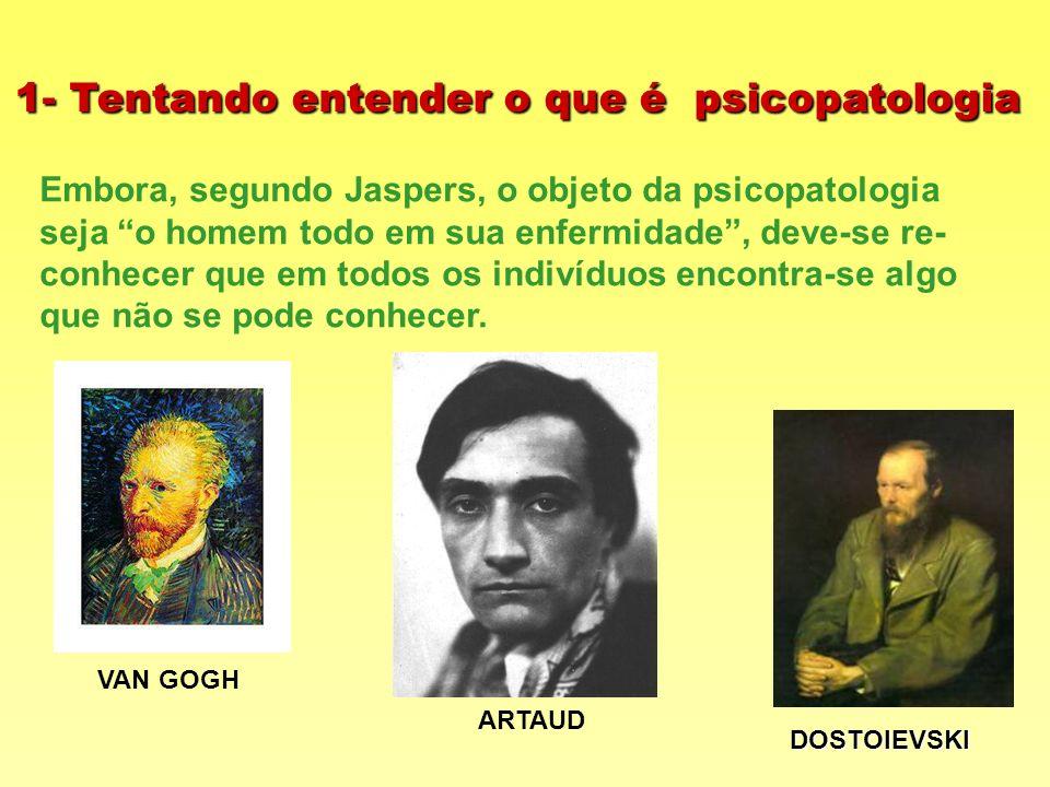 1- Tentando entender o que é psicopatologia Embora, segundo Jaspers, o objeto da psicopatologia seja o homem todo em sua enfermidade, deve-se re- conh