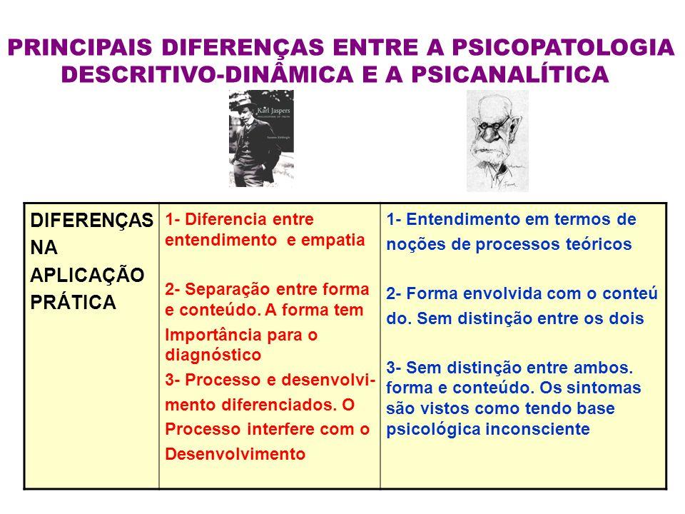 PRINCIPAIS DIFERENÇAS ENTRE A PSICOPATOLOGIA DESCRITIVO-DINÂMICA E A PSICANALÍTICA DIFERENÇAS NA APLICAÇÃO PRÁTICA 1- Diferencia entre entendimento e