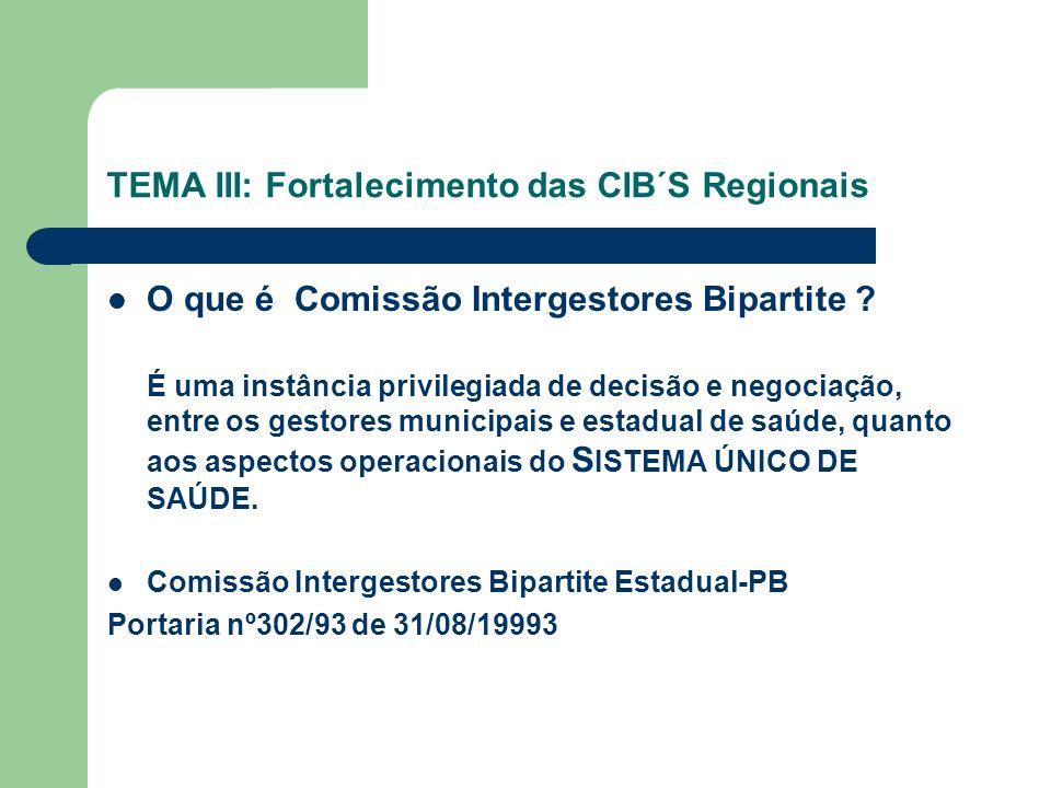 TEMA III: Fortalecimento das CIB´S Regionais O que é Comissão Intergestores Bipartite .