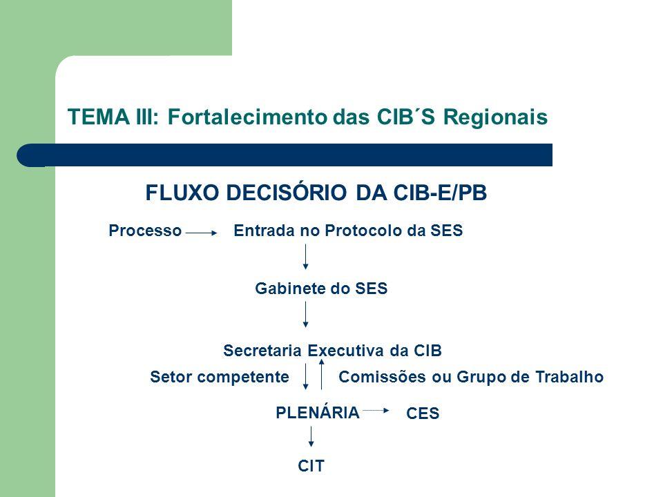 TEMA III: Fortalecimento das CIB´S Regionais ProcessoEntrada no Protocolo da SES FLUXO DECISÓRIO DA CIB-E/PB Gabinete do SES Secretaria Executiva da CIB Setor competenteComissões ou Grupo de Trabalho PLENÁRIA CES CIT