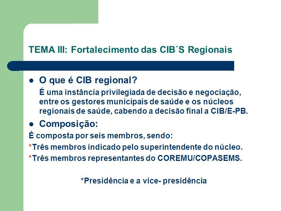 TEMA III: Fortalecimento das CIB´S Regionais O que é CIB regional.