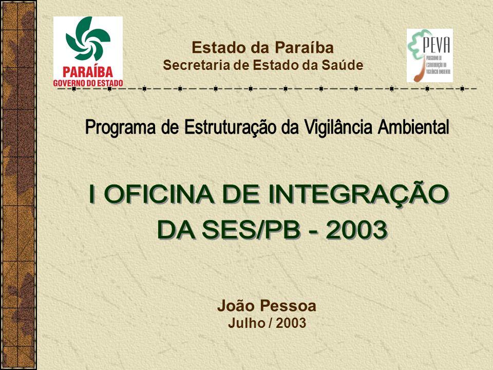 Estado da Paraíba Secretaria de Estado da Saúde João Pessoa Julho / 2003