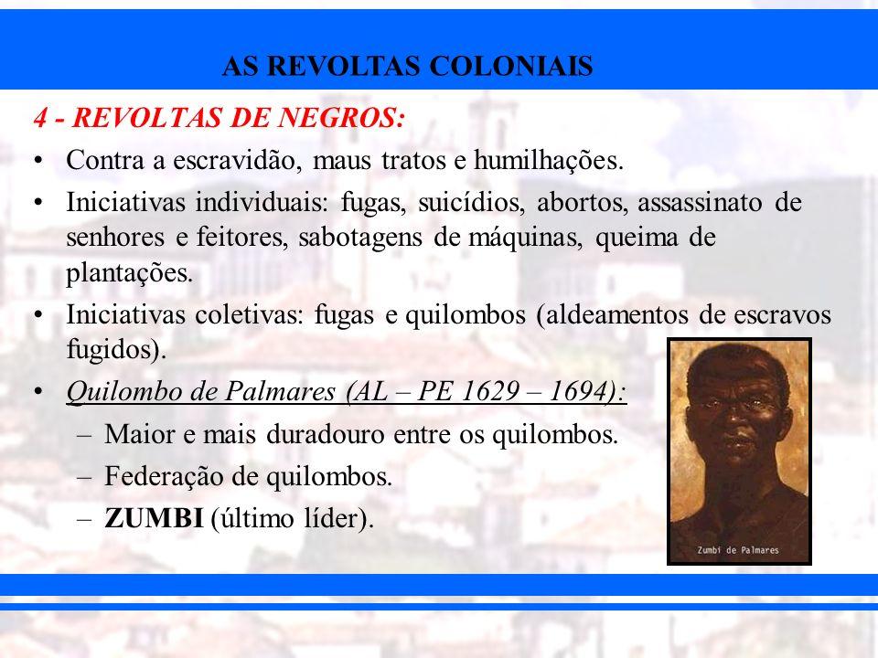 AS REVOLTAS COLONIAIS 4 - REVOLTAS DE NEGROS: Contra a escravidão, maus tratos e humilhações. Iniciativas individuais: fugas, suicídios, abortos, assa
