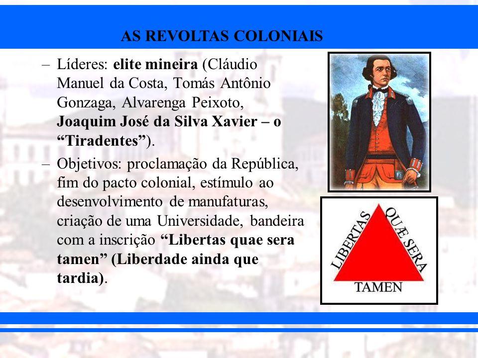 AS REVOLTAS COLONIAIS –Denunciada por Joaquim Silvério dos Reis.