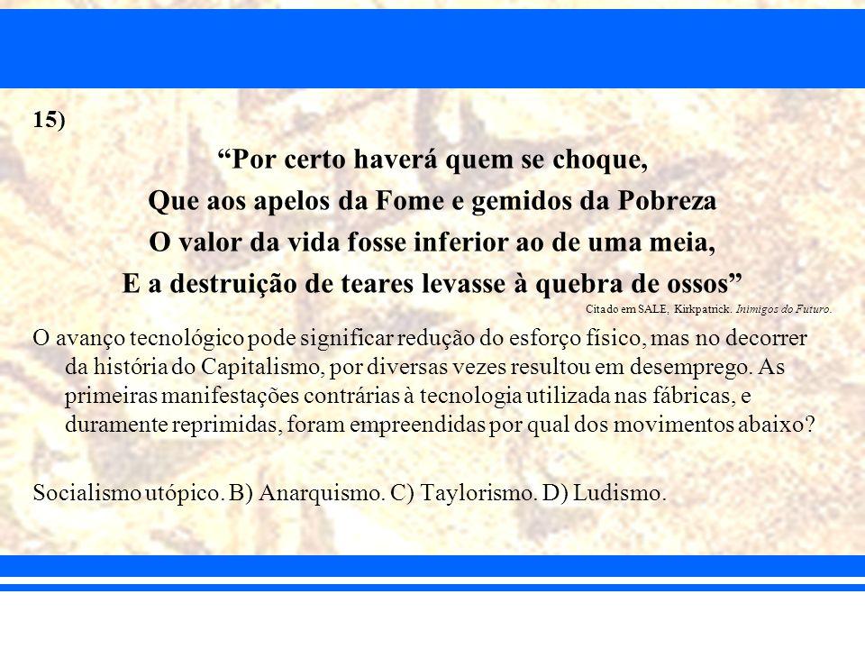 15) Por certo haverá quem se choque, Que aos apelos da Fome e gemidos da Pobreza O valor da vida fosse inferior ao de uma meia, E a destruição de tear