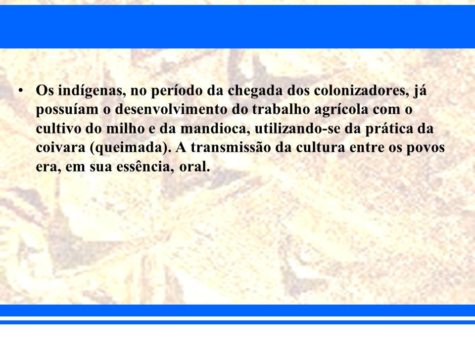 Os indígenas, no período da chegada dos colonizadores, já possuíam o desenvolvimento do trabalho agrícola com o cultivo do milho e da mandioca, utiliz