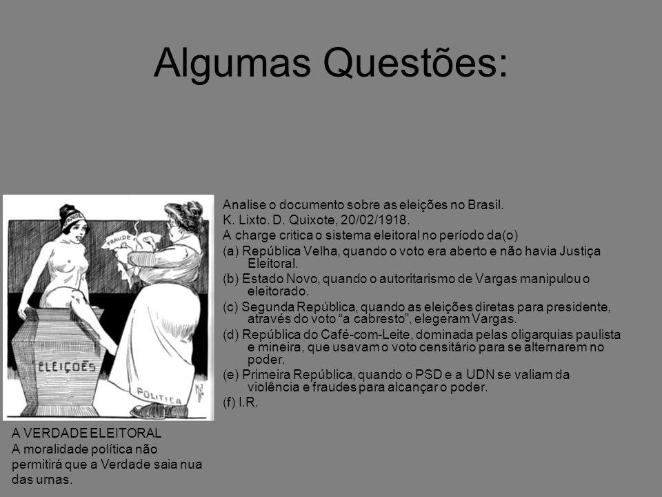 Algumas Questões: Analise o documento sobre as eleições no Brasil. K. Lixto. D. Quixote, 20/02/1918. A charge critica o sistema eleitoral no período d