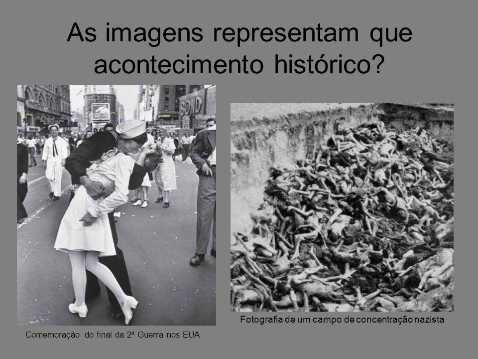 As imagens representam que acontecimento histórico? Comemoração do final da 2ª Guerra nos EUA Fotografia de um campo de concentração nazista