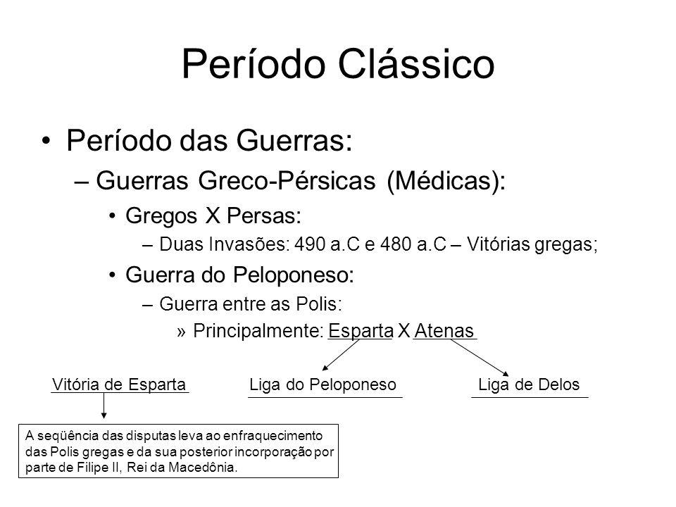 Período Clássico Período das Guerras: –Guerras Greco-Pérsicas (Médicas): Gregos X Persas: –Duas Invasões: 490 a.C e 480 a.C – Vitórias gregas; Guerra