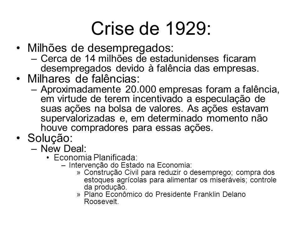 Crise de 1929: Milhões de desempregados: –Cerca de 14 milhões de estadunidenses ficaram desempregados devido à falência das empresas. Milhares de falê