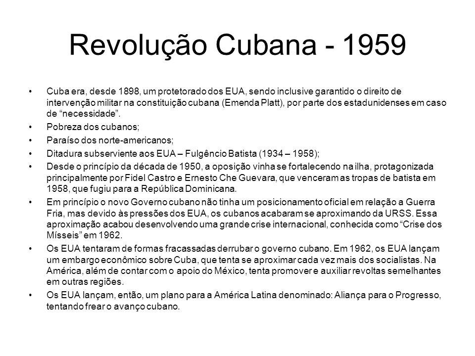 Revolução Cubana - 1959 Cuba era, desde 1898, um protetorado dos EUA, sendo inclusive garantido o direito de intervenção militar na constituição cuban