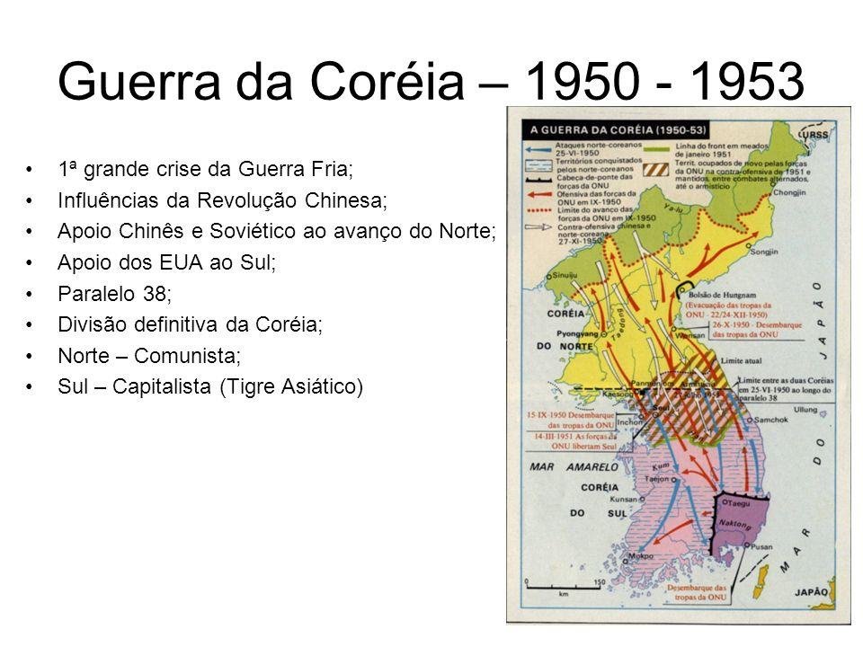 Guerra da Coréia – 1950 - 1953 1ª grande crise da Guerra Fria; Influências da Revolução Chinesa; Apoio Chinês e Soviético ao avanço do Norte; Apoio do