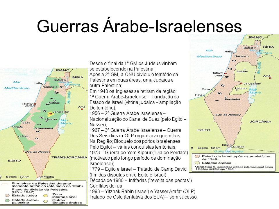 Guerras Árabe-Israelenses Desde o final da 1ª GM os Judeus vinham se estabelecendo na Palestina; Após a 2ª GM, a ONU dividiu o território da Palestina
