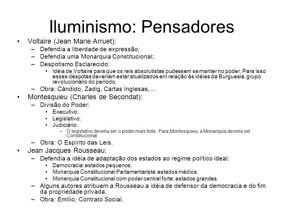 Iluminismo: Pensadores Voltaire (Jean Marie Arruet): –Defendia a liberdade de expressão; –Defendia uma Monarquia Constitucional; –Despotismo Esclareci