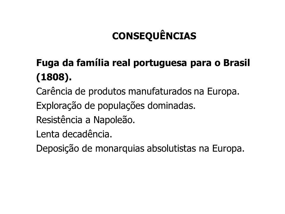 CONSEQUÊNCIAS Fuga da família real portuguesa para o Brasil (1808). Carência de produtos manufaturados na Europa. Exploração de populações dominadas.
