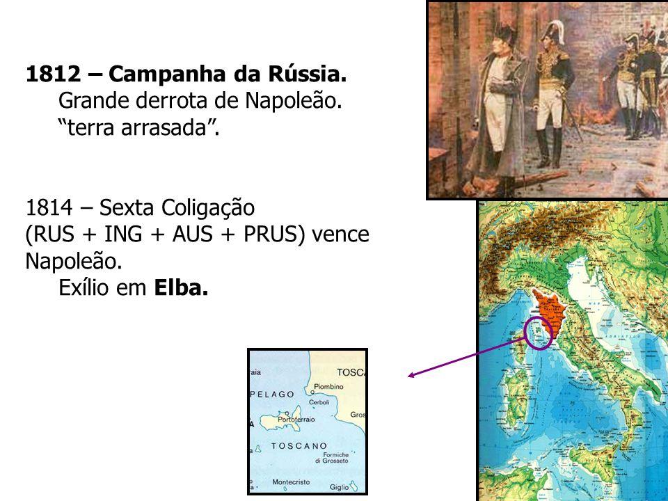 1812 – Campanha da Rússia. Grande derrota de Napoleão. terra arrasada. 1814 – Sexta Coligação (RUS + ING + AUS + PRUS) vence Napoleão. Exílio em Elba.