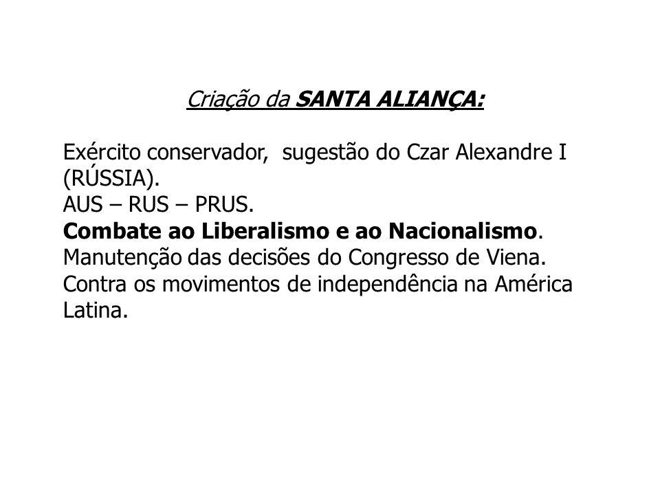 Criação da SANTA ALIANÇA: Exército conservador, sugestão do Czar Alexandre I (RÚSSIA). AUS – RUS – PRUS. Combate ao Liberalismo e ao Nacionalismo. Man