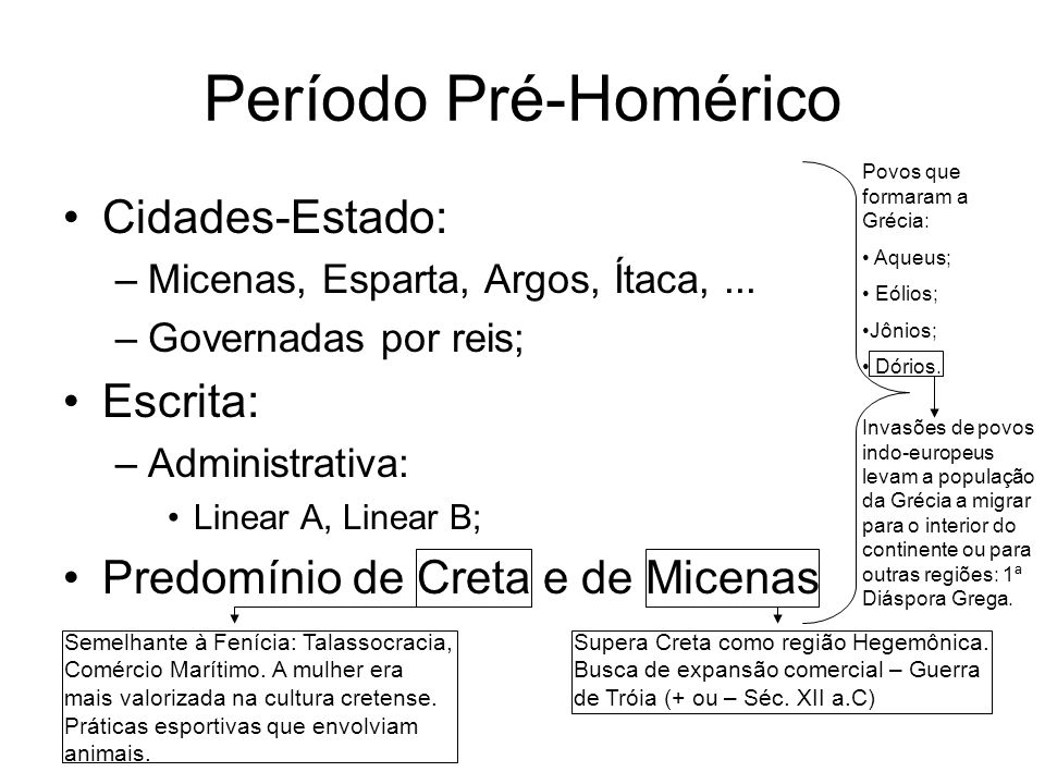 Período Pré-Homérico Cidades-Estado: –Micenas, Esparta, Argos, Ítaca,... –Governadas por reis; Escrita: –Administrativa: Linear A, Linear B; Predomíni