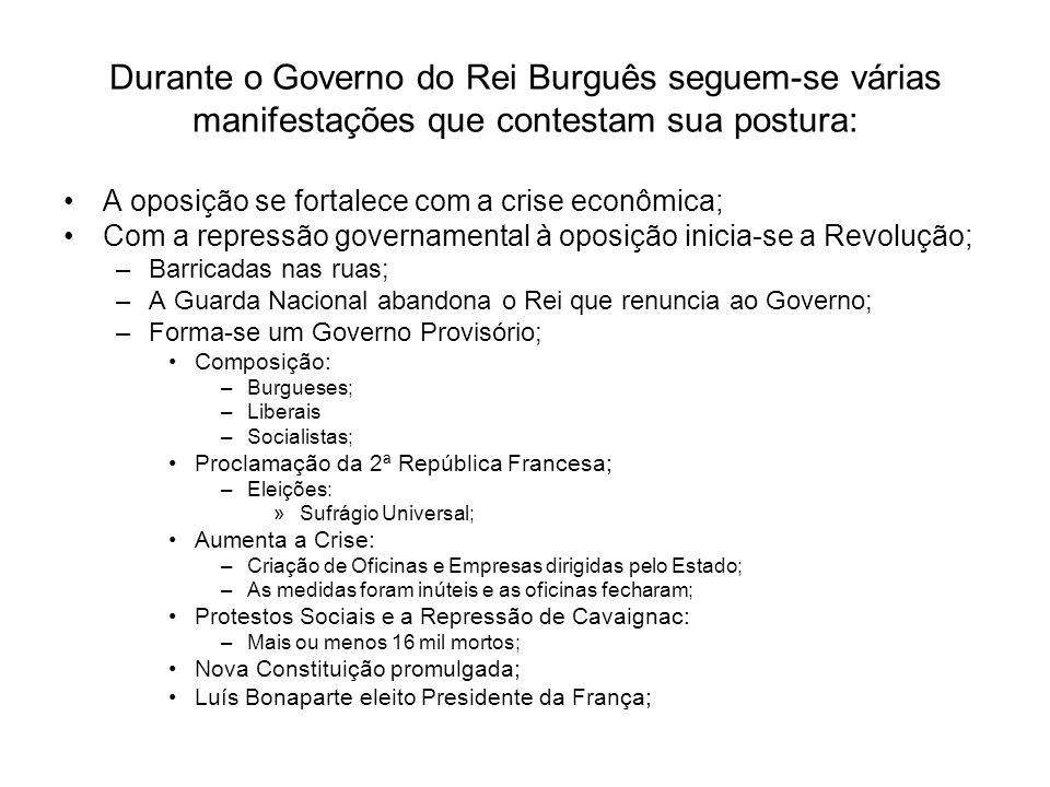 Durante o Governo do Rei Burguês seguem-se várias manifestações que contestam sua postura: A oposição se fortalece com a crise econômica; Com a repres