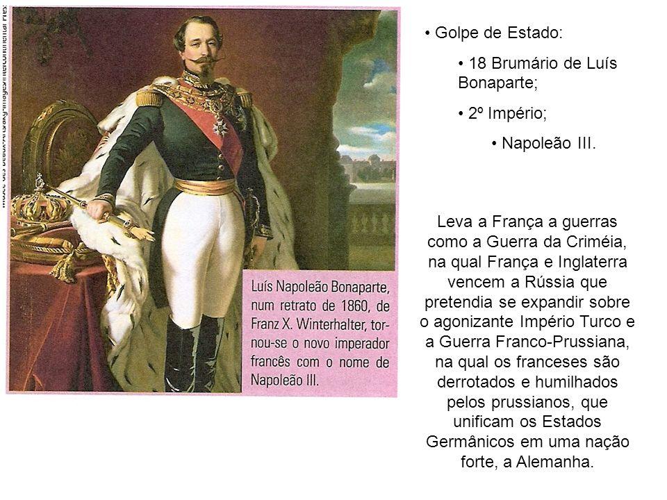 Golpe de Estado: 18 Brumário de Luís Bonaparte; 2º Império; Napoleão III. Leva a França a guerras como a Guerra da Criméia, na qual França e Inglaterr