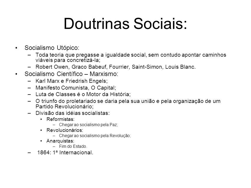 Doutrinas Sociais: Socialismo Utópico: –Toda teoria que pregasse a igualdade social, sem contudo apontar caminhos viáveis para concretizá-la; –Robert