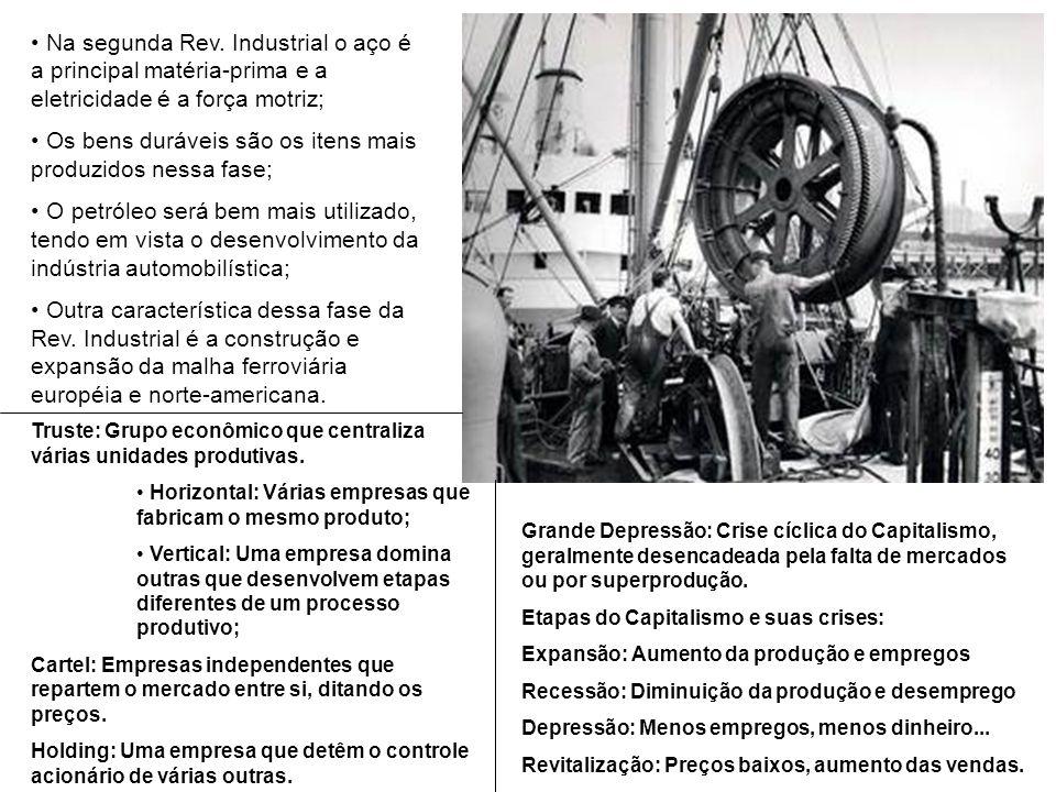 Na segunda Rev. Industrial o aço é a principal matéria-prima e a eletricidade é a força motriz; Os bens duráveis são os itens mais produzidos nessa fa