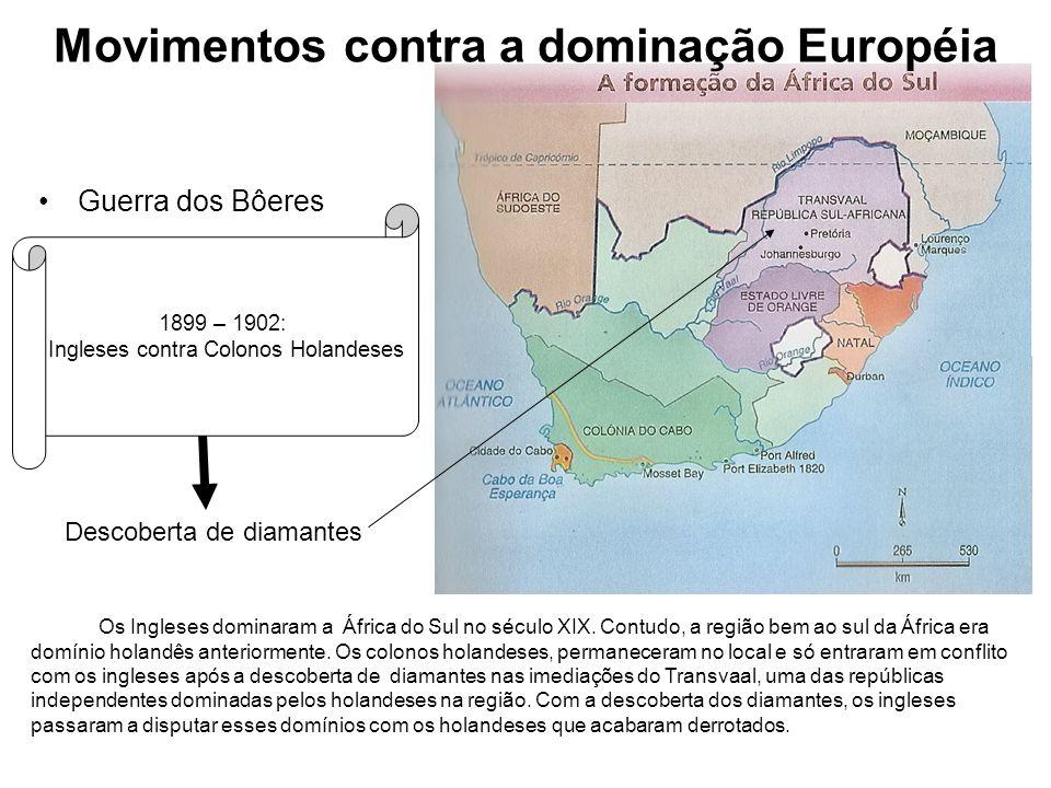 Movimentos contra a dominação Européia Guerra dos Bôeres 1899 – 1902: Ingleses contra Colonos Holandeses Descoberta de diamantes Os Ingleses dominaram