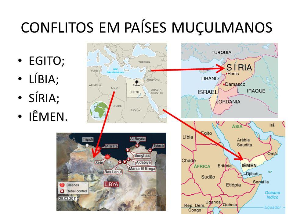 CONFLITOS EM PAÍSES MUÇULMANOS EGITO; LÍBIA; SÍRIA; IÊMEN.