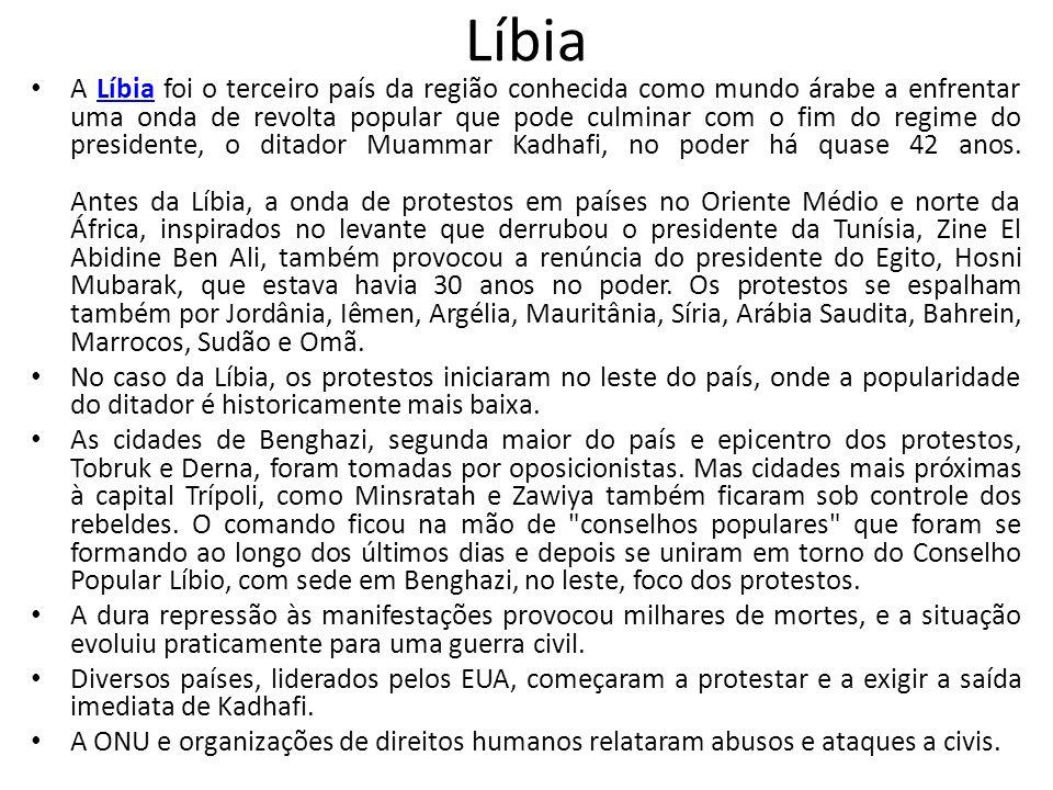 Líbia Em pronunciamentos transmitidos pela TV estatal líbia, Kadhafi disse que só deixará o país morto, como um mártir.