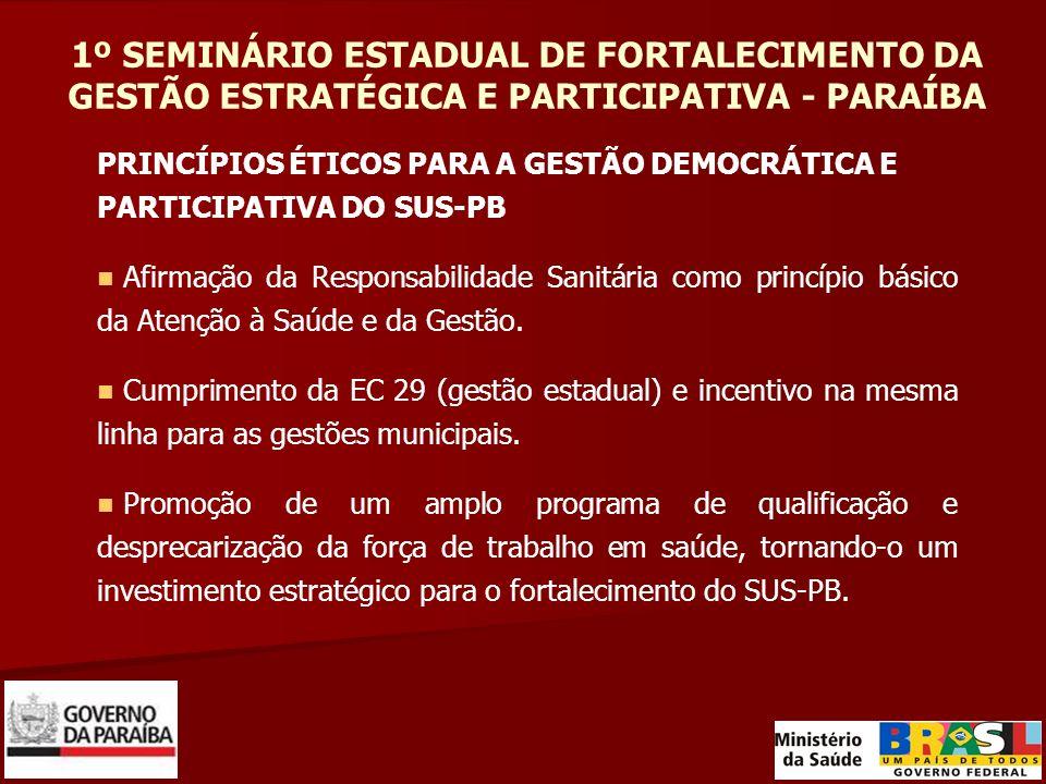 1º SEMINÁRIO ESTADUAL DE FORTALECIMENTO DA GESTÃO ESTRATÉGICA E PARTICIPATIVA - PARAÍBA PRINCÍPIOS ÉTICOS PARA A GESTÃO DEMOCRÁTICA E PARTICIPATIVA DO