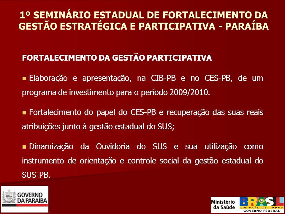 1º SEMINÁRIO ESTADUAL DE FORTALECIMENTO DA GESTÃO ESTRATÉGICA E PARTICIPATIVA - PARAÍBA FORTALECIMENTO DA GESTÃO PARTICIPATIVA Elaboração e apresentaç