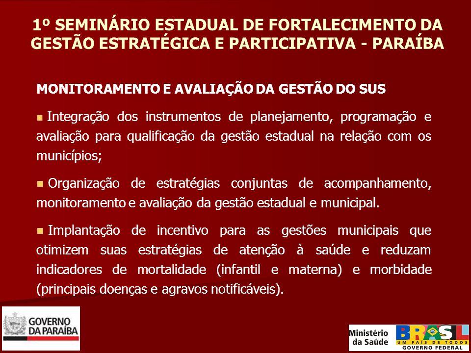 1º SEMINÁRIO ESTADUAL DE FORTALECIMENTO DA GESTÃO ESTRATÉGICA E PARTICIPATIVA - PARAÍBA MONITORAMENTO E AVALIAÇÃO DA GESTÃO DO SUS Integração dos inst