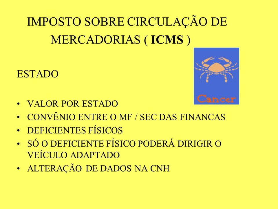IMPOSTO SOBRE CIRCULAÇÃO DE MERCADORIAS ( ICMS ) ESTADO VALOR POR ESTADO CONVÊNIO ENTRE O MF / SEC DAS FINANCAS DEFICIENTES FÍSICOS SÓ O DEFICIENTE FÍ