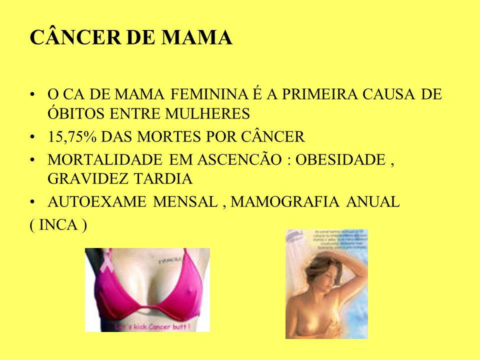 CÂNCER DE MAMA O CA DE MAMA FEMININA É A PRIMEIRA CAUSA DE ÓBITOS ENTRE MULHERES 15,75% DAS MORTES POR CÂNCER MORTALIDADE EM ASCENCÃO : OBESIDADE, GRA