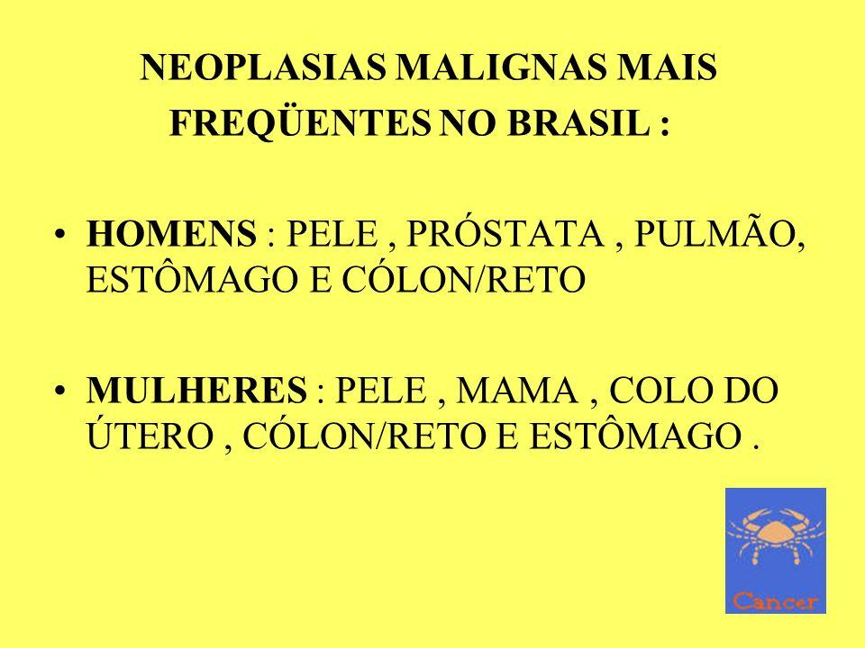 NEOPLASIAS MALIGNAS MAIS FREQÜENTES NO BRASIL : HOMENS : PELE, PRÓSTATA, PULMÃO, ESTÔMAGO E CÓLON/RETO MULHERES : PELE, MAMA, COLO DO ÚTERO, CÓLON/RET