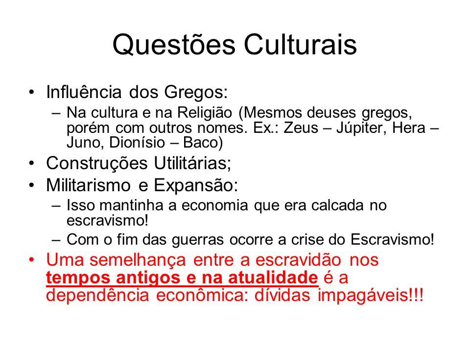 Questões Culturais Influência dos Gregos: –Na cultura e na Religião (Mesmos deuses gregos, porém com outros nomes. Ex.: Zeus – Júpiter, Hera – Juno, D