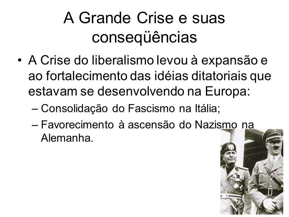 A Grande Crise e suas conseqüências A Crise do liberalismo levou à expansão e ao fortalecimento das idéias ditatoriais que estavam se desenvolvendo na