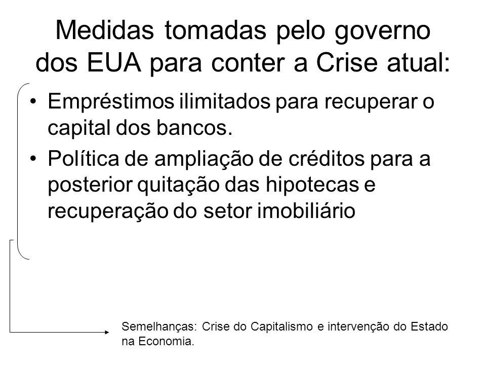 Medidas tomadas pelo governo dos EUA para conter a Crise atual: Empréstimos ilimitados para recuperar o capital dos bancos. Política de ampliação de c