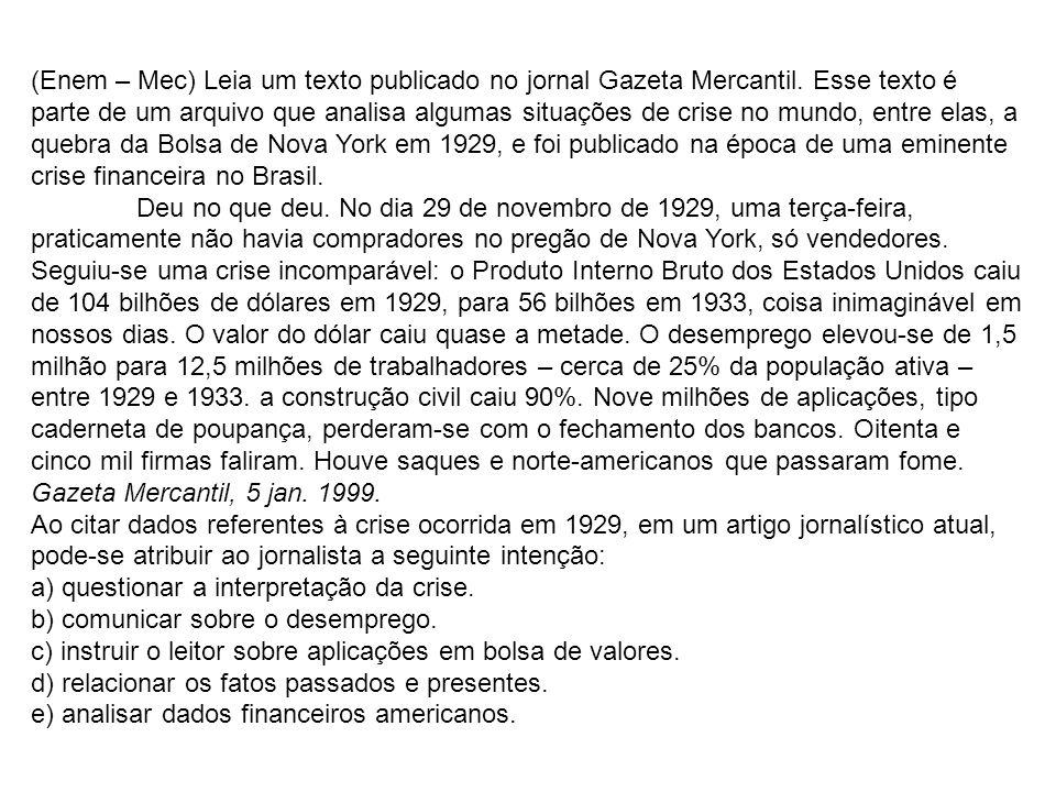 (Enem – Mec) Leia um texto publicado no jornal Gazeta Mercantil. Esse texto é parte de um arquivo que analisa algumas situações de crise no mundo, ent