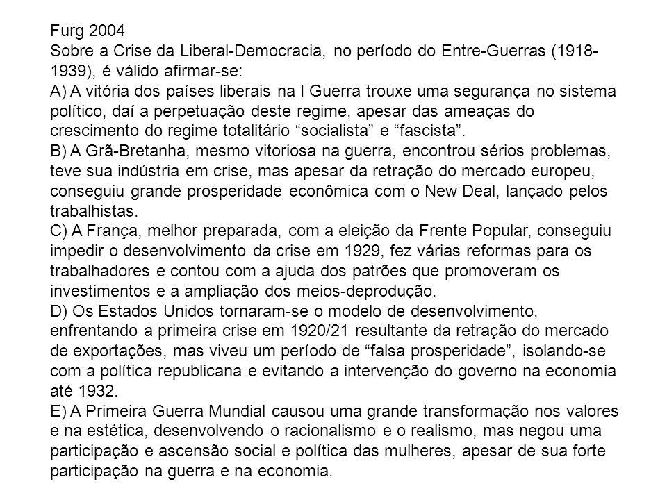 Furg 2004 Sobre a Crise da Liberal-Democracia, no período do Entre-Guerras (1918- 1939), é válido afirmar-se: A) A vitória dos países liberais na I Gu