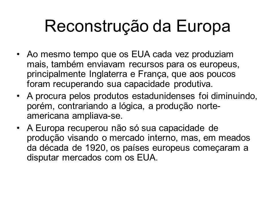 Reconstrução da Europa Ao mesmo tempo que os EUA cada vez produziam mais, também enviavam recursos para os europeus, principalmente Inglaterra e Franç