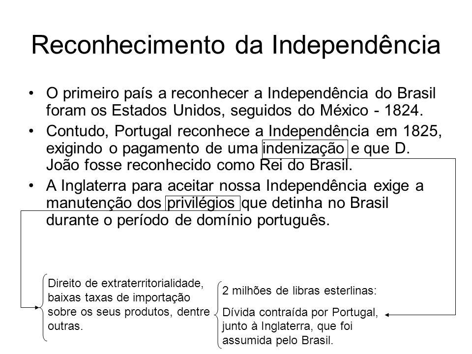 Reconhecimento da Independência O primeiro país a reconhecer a Independência do Brasil foram os Estados Unidos, seguidos do México - 1824. Contudo, Po
