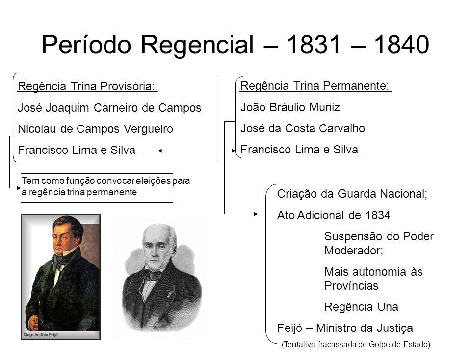 Período Regencial – 1831 – 1840 Regência Trina Provisória: José Joaquim Carneiro de Campos Nicolau de Campos Vergueiro Francisco Lima e Silva Regência